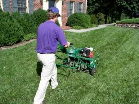 Aerate your lawn - #Aeration enables much-needed oxygen to reach the lawn's roots. Rent an aerator and do it yourself (twice) or hire a lawn service for this job.