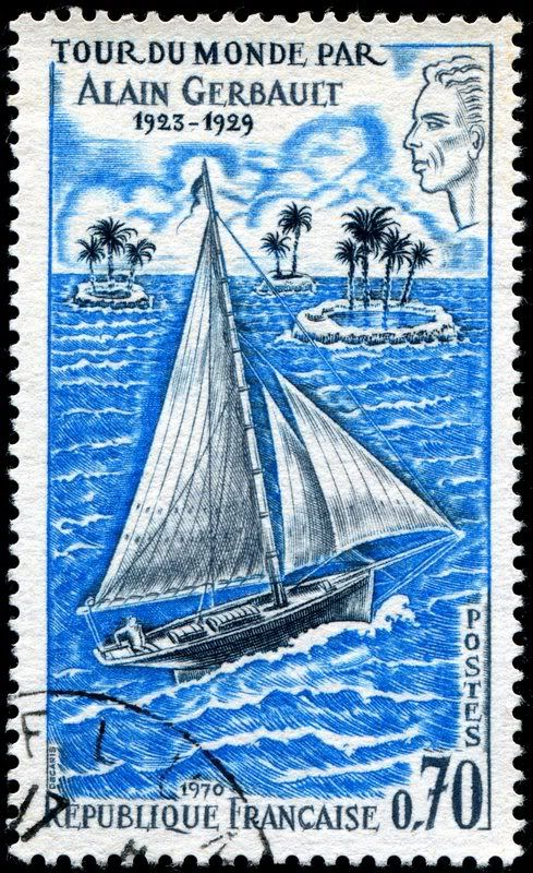 Alain J. Gerbault (1893-1941), a French aviator and tennis champion, made a solo circumnavigation of the world (1923-29) in his 39-foot racing/cruising gaff sloop, Firecrest. Here is an image of a stamp depicting Gerbault and his sailboat, designed and engraved by Albert Decaris, and issued by France on January 10, 1970, Scott No. 1263, Y&T No. 1621.