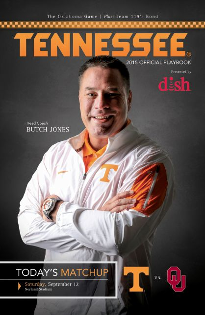 Official 2015 @UTSports Football Playbook vs. Oklahoma, September 12, 2015 features head coach Butch Jones on the cover. #OneTennessee #GoVols