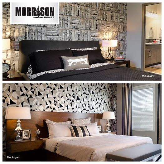 There are lots of ways to dress up your master bedroom including feature walls. Here, bold printed wallpapers were used to make these rooms pop.  Which print do you prefer, This or That?