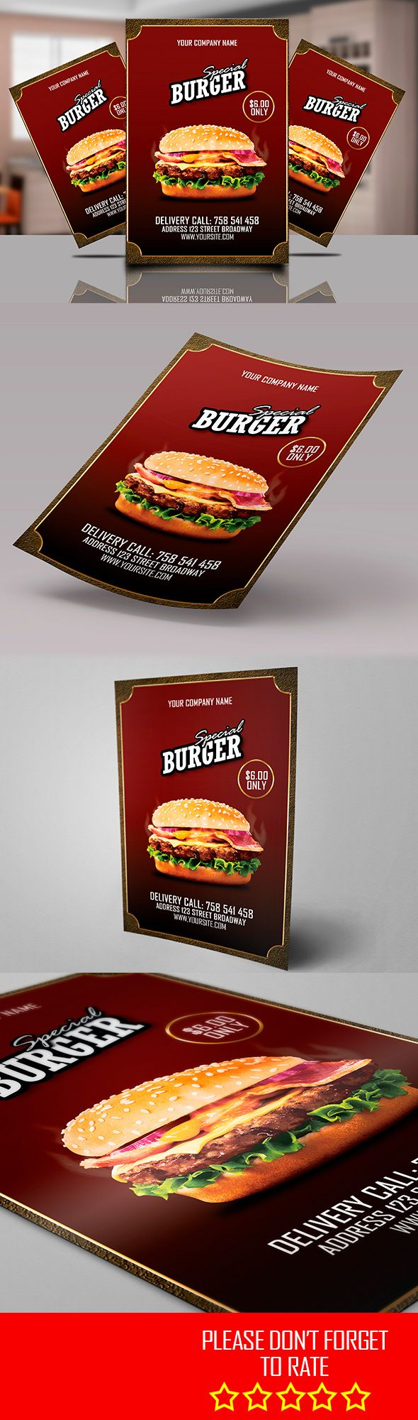 BURGER PROMOTION FLYER TEMPLATE  - All text editable easily - A4 format 210mmx297mm (8.27x11.69 inch) - 3mm bleed - print ready - CMJK color mode - 300 DPI - All layers are well organized, named and grouped  - Software used: Photoshop cs3 or later - Files included: 1 Psd Photoshop, 1 Jpeg and an instruction file (read me) to explain how to make changes easily  - Free fonts used