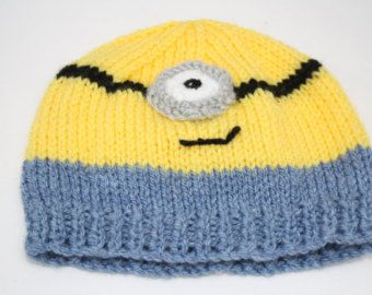 Minion baby hat Hand knitted minion hat  knitted minion hand knit babywear knitted cute baby hats knitted beanies knitted baby hats