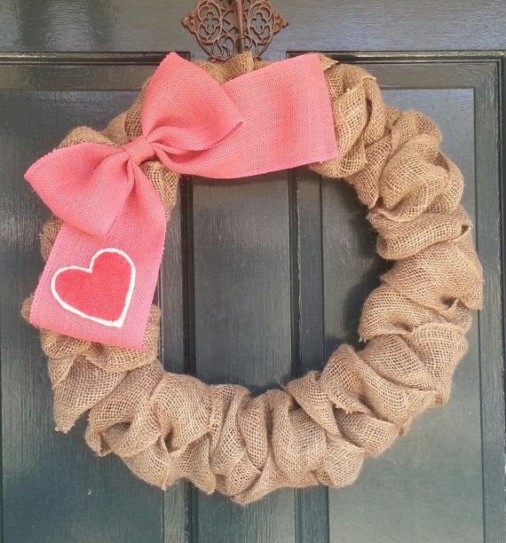 Burlap Wreath With Big Pink Burlap Bow And Heart  Valentines Day Wreath Front  Door Wreath  Wedding Decoration  Year Round Wreath