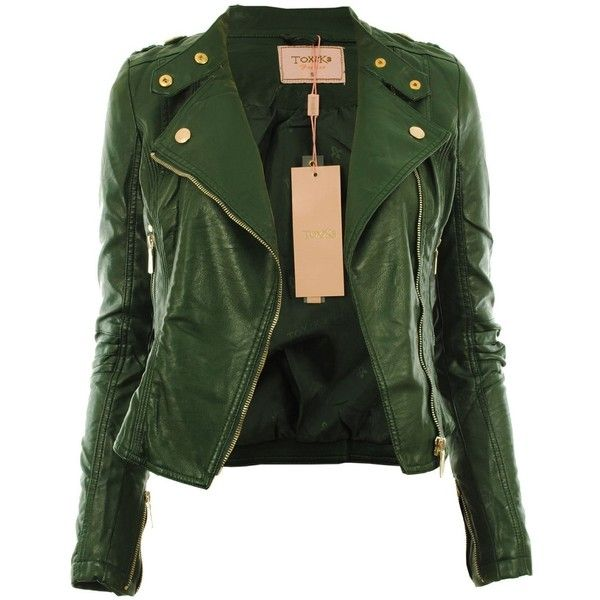 Diana New Womens Faux Leather Biker Gold Button Zip Crop Ladies Jacket... by None, via Polyvore
