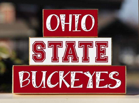 Ohio State University   Trio Wood Blocks Stack   Scarlet/Gray   Home Decor/Gift    Columbus Ohio   Wooden BlocksCollege Gift School Pride