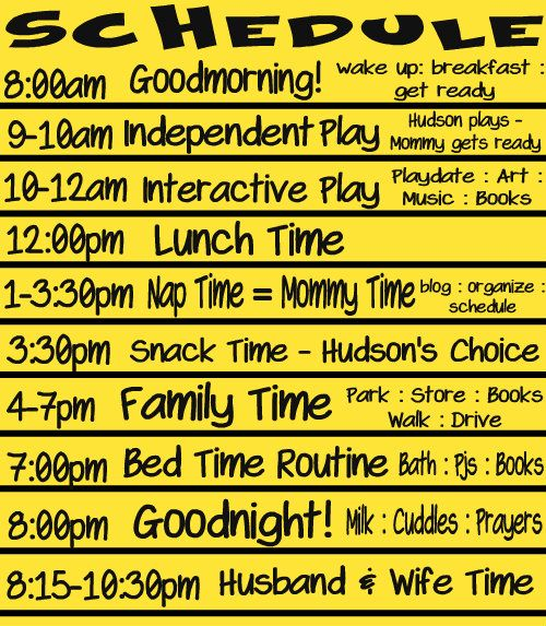 Toddler Schedule- be more intentional about our time and our schedule... good example to use