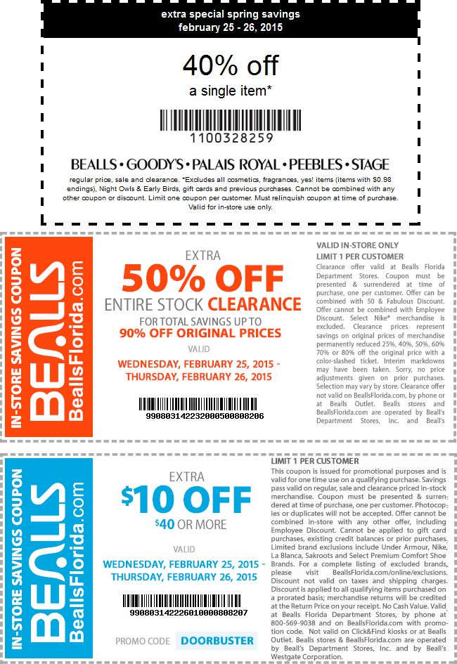 Bealls coupons in store 2019