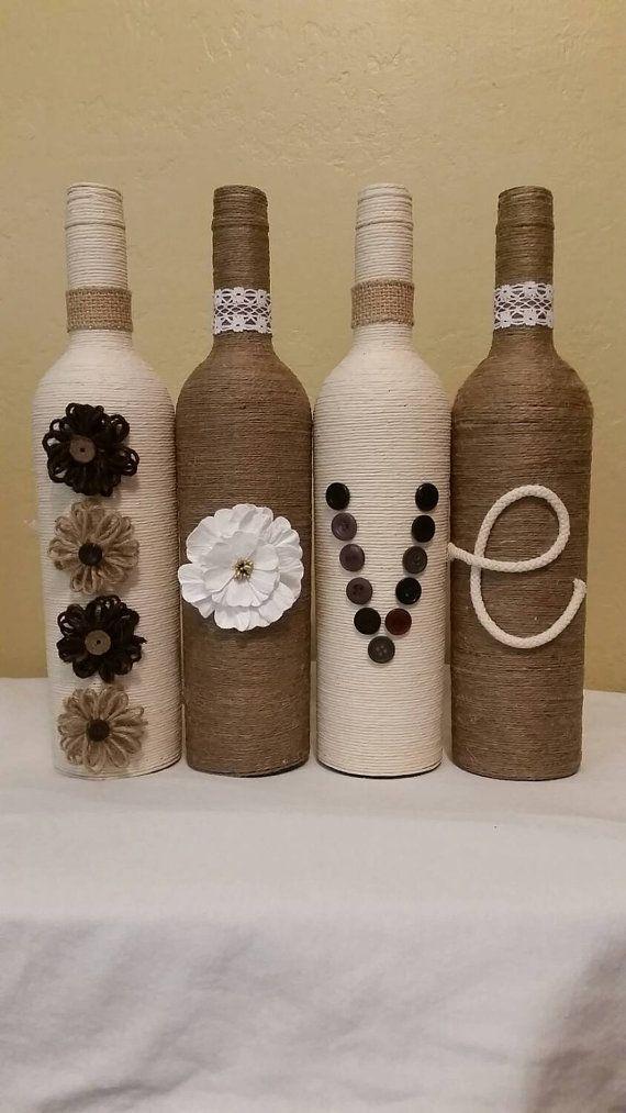 Hilo envuelto botellas por LinzBottleCrafts1234 en Etsy