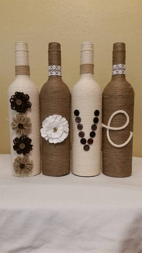 Twine Wrapped Bottles by LinzBottleCrafts1234 on Etsy