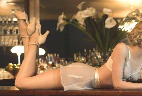 French 1940s Bombshell Bride Garter Belt Girdle  Sensual