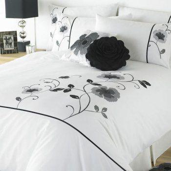 Super King Size Black and White Applique Poppy Duvet Set   Buy Super King Size Black and White Applique Poppy Duvet Set Online