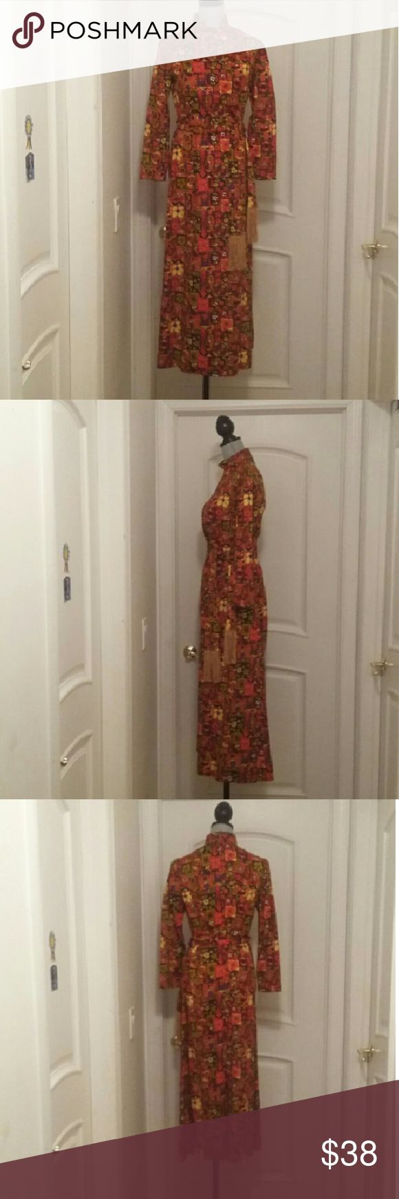 """Sweet 70's Long Sleeve Orange & Brown Hippie Dress Perfect Vintage Festival Dress in Orange, Yellow, Browns & Purple with a wonderful 4"""" Sash with Golden 6"""" Fringe on both ends. Measurements flat one sided  Shoulders:  Chest: Waist: Length: Sleeves: Vintage  Dresses"""