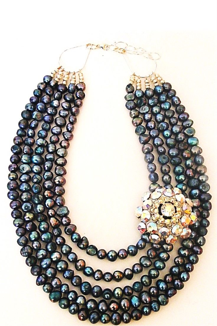 Blue Freshwater Pearls & Vintage Brooch necklace.  Add a touch of colour to your outfits with this one-of-a-kind statement necklace. Handmade with freshwater pearls paired with vintage brooch $299,00. #handmadenecklace#statementnecklaces#necklaces#vintagebrooch#gemstonenecklace #gemstonejewelry