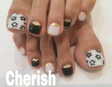 Czeshop Images Black And Gold Toe Nail Designs