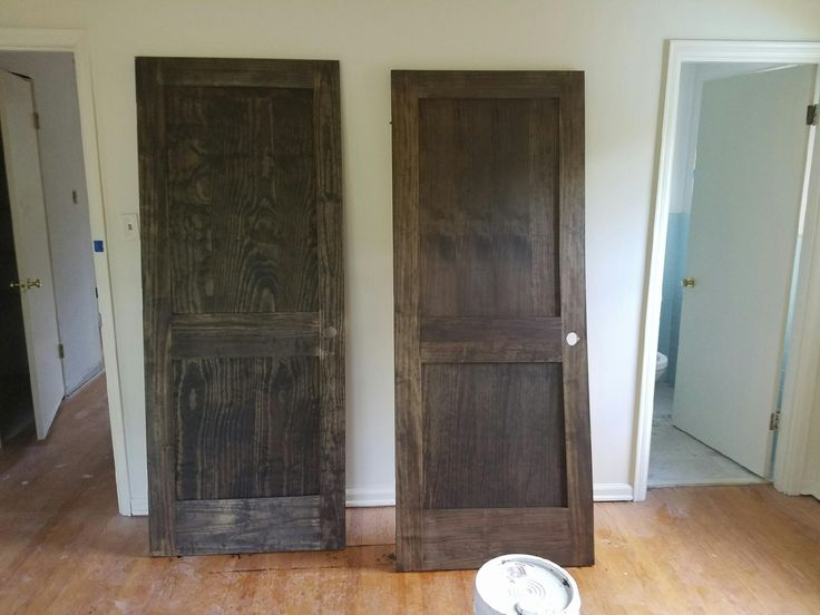 Wood conditioner makes all the difference! Pine doors- Minwax Jacobean stain on left, Minwax Pre-stain then Jacobean on the right.
