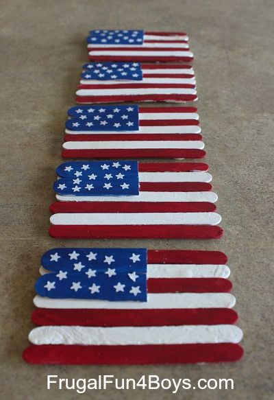 Use popsicle sticks to make a simple flag craft!  Makes a great decoration or a great gift - we put a ribbon loop on the back of some on them to hang them.