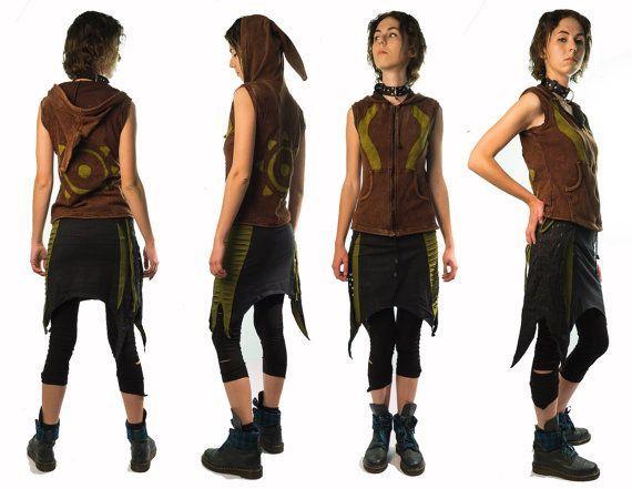 Pixie Mini Cut Skirt Olive - Goa - Tribal - Psy - PsyTrance - Rave ...
