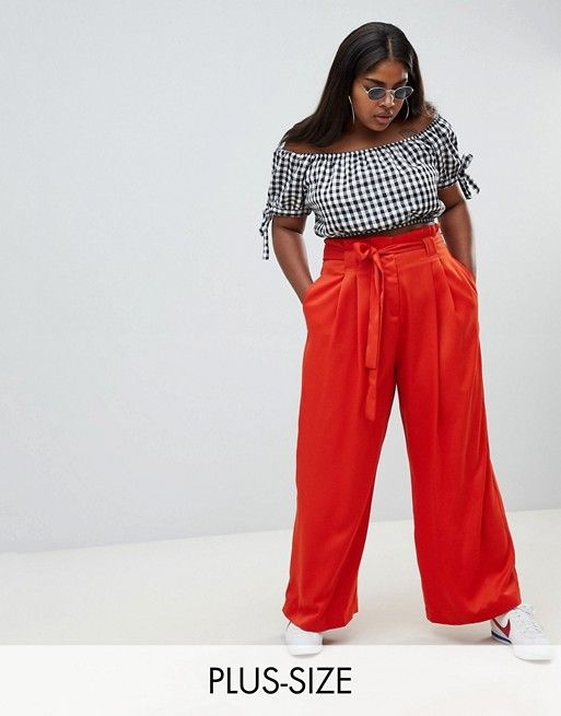 River Island Plus wide leg pants with tie front in red | Stuff I ...