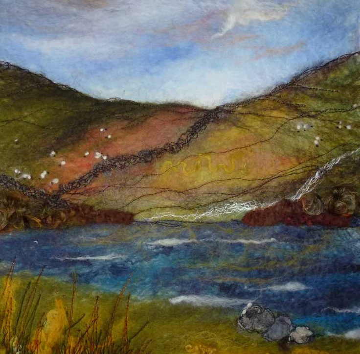 On A Clear Day - Threlfall's Art Studio | Silk Paintings | Felt Paintings | Acrylics | Caren and Pete | Country, Town and Seascapes | Workshops |