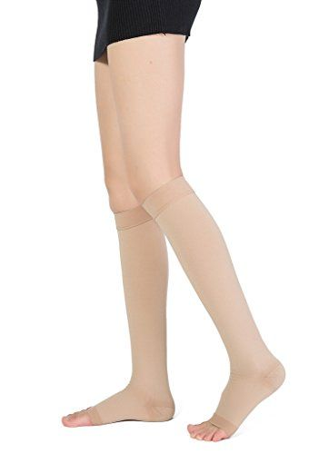 Cheap TOFLY Maternity Knee High Open Toe Compression Stockings Medical Grade Pregnancy Socks 20-30mmHg - Ankle  Feet Support Muscle Pain Relief Treatment For Swelling Varicose Veins Edema. (1 Pair) deals week