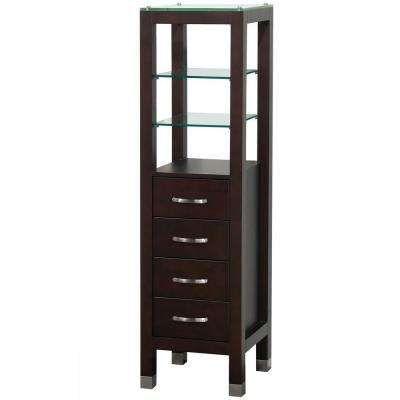 Tavello 16-1/4 in. W x 59-3/4 in. H x 16 in. D Bathroom Linen Storage Tower Cabinet in Espresso