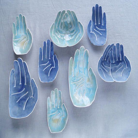 Keramik Seifenschale, Porzellan HAND, Türkis Aqua