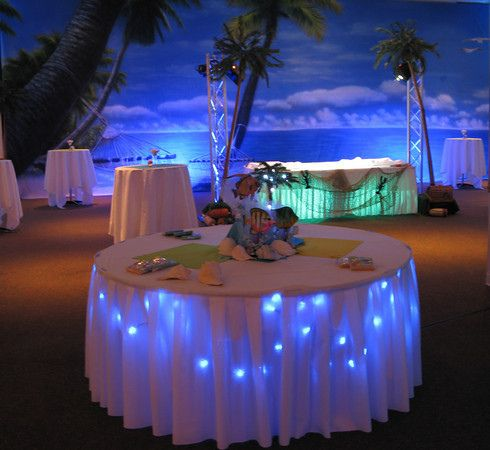 beach-themed party - guest table LOVE LOVE LOVE