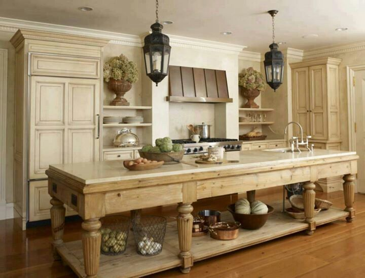 Farmhouse kitchen - really liking this open island.  something to think about.  pros - visually 'open' feel, cons no hidden storage for items like stand mixer, serveware, etc.