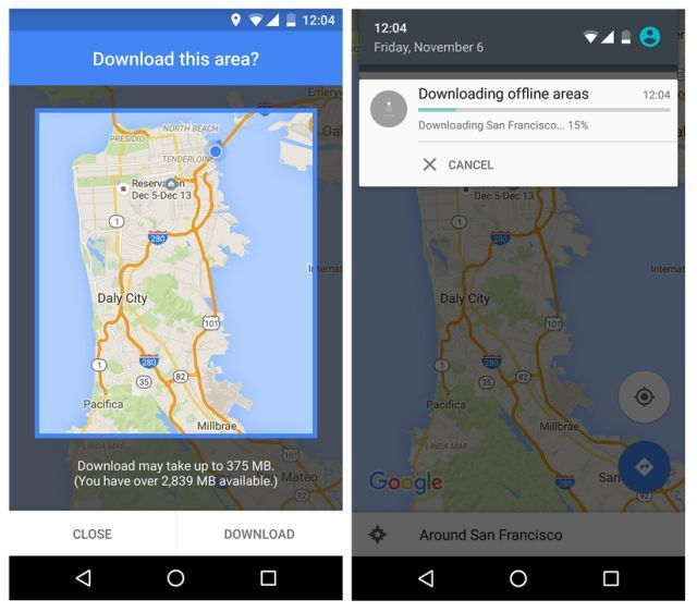 This smartphone screen grab provided by Google shows a map of the San Francisco Bay Area during a demonstration of Google Maps' new offline navigation option. With an update for Android phones Tuesday, Nov. 10, 2015, users will be able to search nearby businesses and get driving directions, including turn-by-turn voice prompts, even if the Internet connection is spotty or non-existent. Google said a version for iPhones will come soon. (Google via AP)