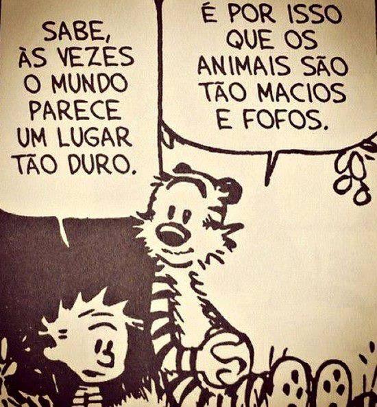 Calvin: Sabe, às vezes o mundo parece um lugar tão duro. Haroldo: É por isso que os animais são tão macios e fofos.