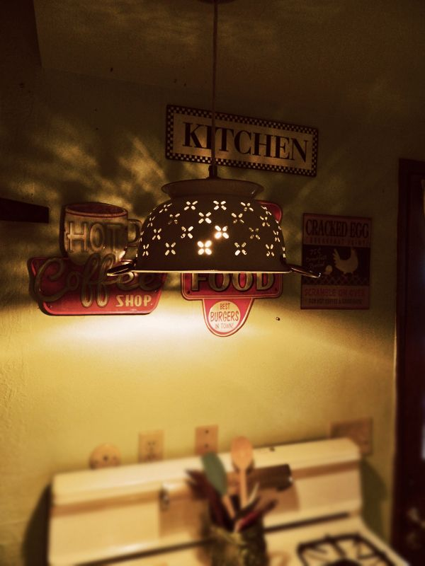 DIY Colander light fixture. Very cool look for the kitchen.