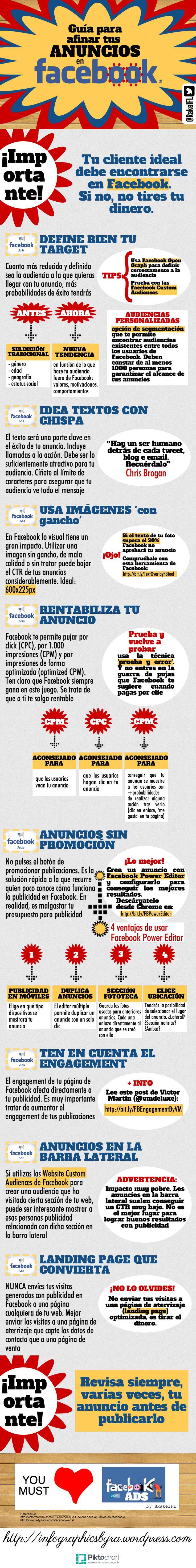 #Infografia #SocialMediaMarketing Guía para afinar tus anuncios de Facebook. #TAVnews