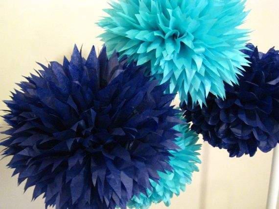 Nautical decor - Set of 16 Tissue paper poms/Ceremony/boy baby shower/birthday party decor/decorations/tiffany's blue