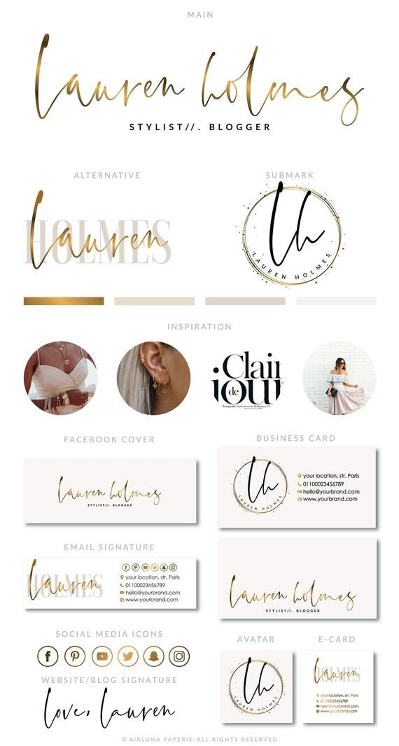 Geometric Logo, Rose Gold Brush Branding Kit, Photography Logo, Premade calligraphy Logo Design, Salon Logo, Watermark, Makeup Logo, Blogger