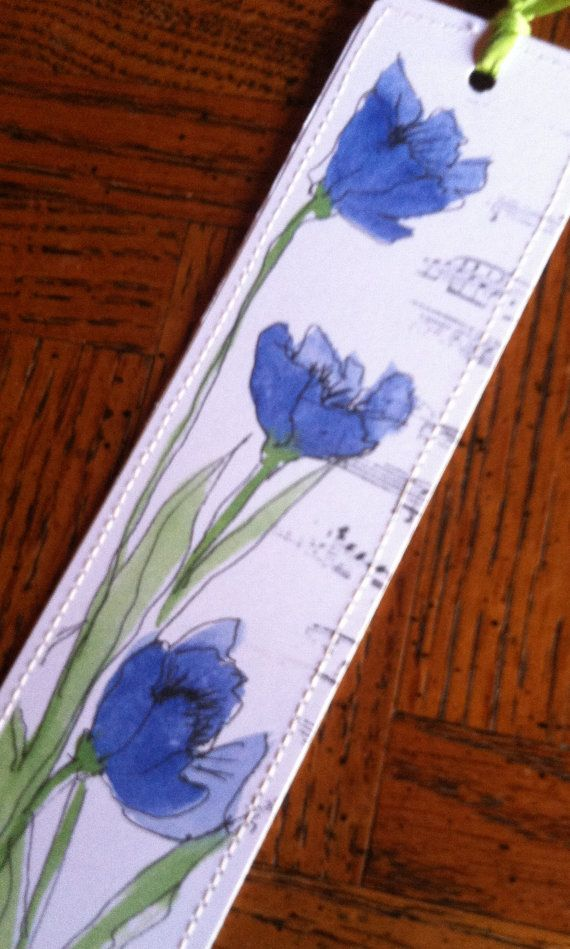 Watercolor Bookmark of Blue Poppies by Wildflowerhouse on Etsy