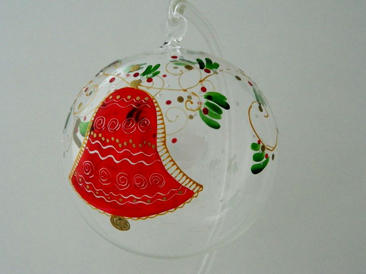 Hand painted glass Christmas ball decorated with a red bell.  www.handmadesister.blogspot.com