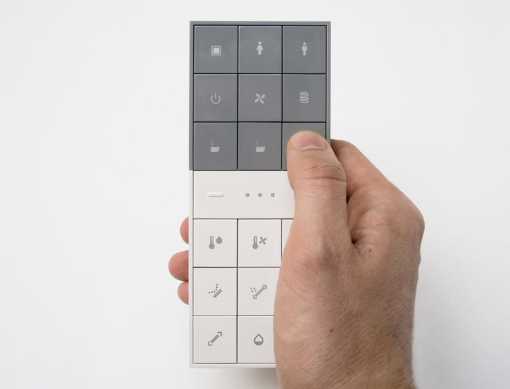 Remote control with flat grid square buttons.