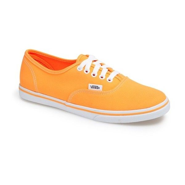 Vans 'Authentic Lo Pro - Neon' Sneaker (Women) Womens Neon Electric... ($22) ❤ liked on Polyvore featuring shoes, sneakers, orange, vans, purple sneakers, vans sneakers, neon shoes, neon orange sneakers and orange sneakers
