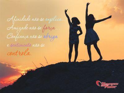 Afinidade não se explica... Amizade não se força... Confiança não se obriga e sentimento não se controla.