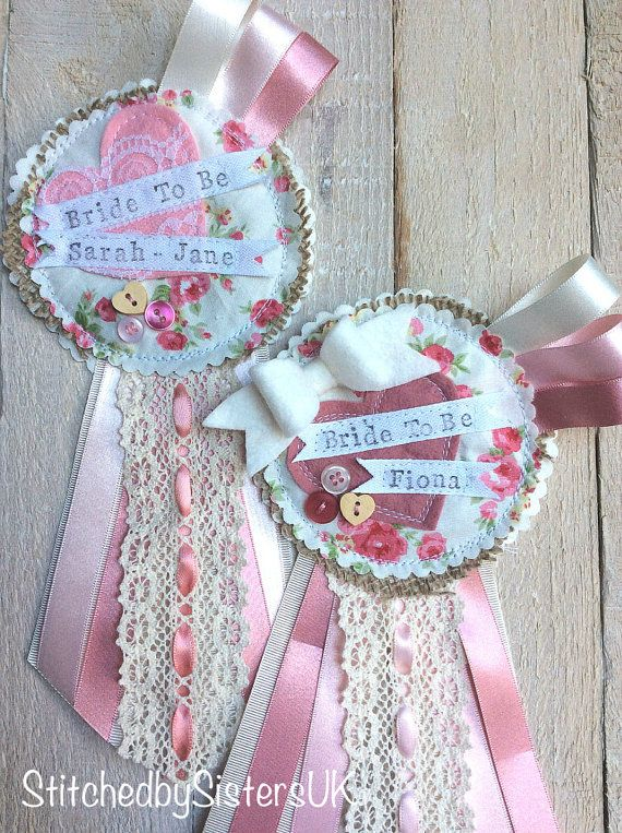 Bride to be badge hen party rosette by StitchedbySistersuk on Etsy
