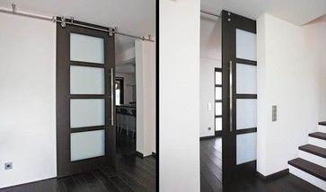 Floor-to-ceiling sliding door with twin-system barn door hardware - B50 modern interior doors