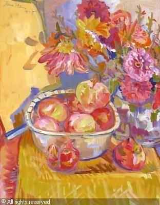 STERN Irma,Still life of a bowl of pomegranates and dahlias