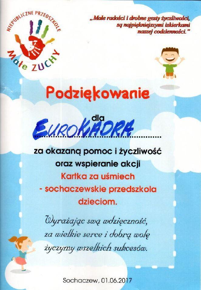 """Podziękowanie dla naszego oddziału EUROKADRA BŁONIE za wsparcie akcji charytatywnej: """"Kartka za uśmiech"""" eurokadra.com.pl"""