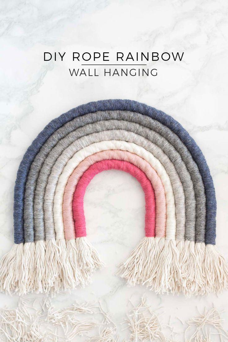 Rope Rainbow Wall Decor Fibre Art Diy Pure Sweet Joy Rainbow Wall Decor Rainbow Diy Wall Hanging Diy