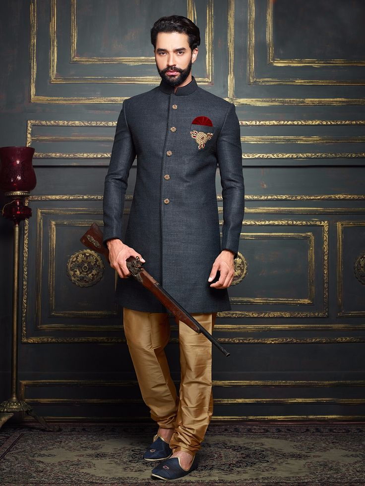 Dark Grey Terry Rayon Solid Jodhpuri Sherwani