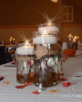 Cylinder vase centerpieces twigs in vase floating candle for Twigs decoration for weddings
