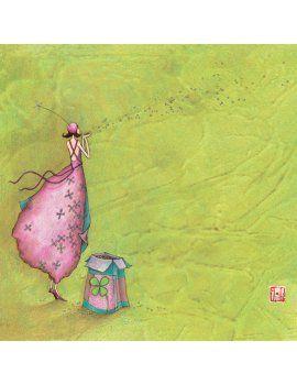 """Gaëlle Boissonnard carte postale carrée (14 cm) """"Le trèfle à 4 feuilles"""""""