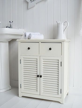 Hamptons cream large bathroom cabinet with drawer and cupboard