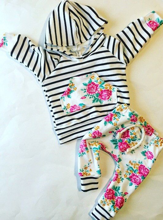Adorable baby girl outfit, floral and black and white stripes . Made with a super comfy French terry hoodie and super soft jersey knit pants ! ANY