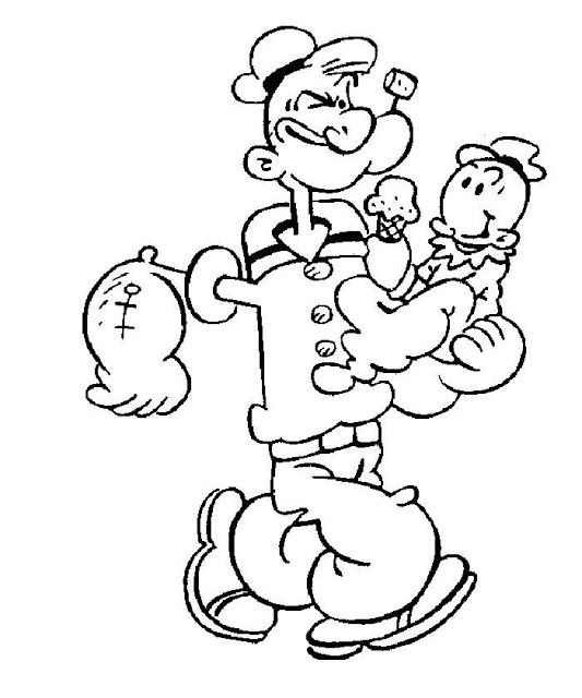M M Coloring Pages | Popeye Cartoon Characters Coloring Pages to Print